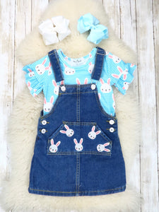 Blue Bunny Ruffle Top & Denim Overall Dress Outfit
