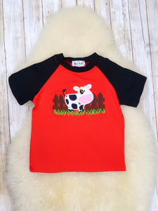 Black & Red Cow T-Shirt