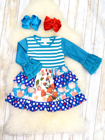 Blue Striped Floral Mixed Ruffle Dress