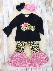 Hearts Truck Ruffle Top & Leopard Bell Bottoms Outfit