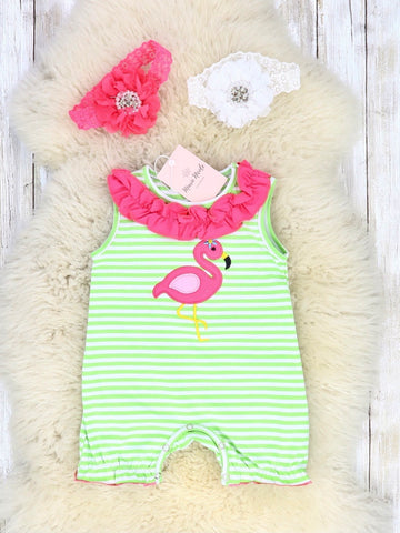 Green Striped Flamingo Romper