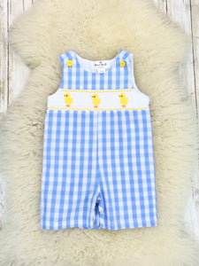 Blue Gingham Smocked Neckline With Chick Embroidery Romper