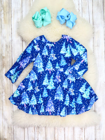 Blue Christmas Trees Ruffle Dress