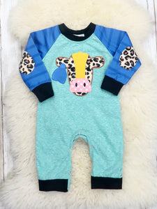 Teal / Blue Cow Romper