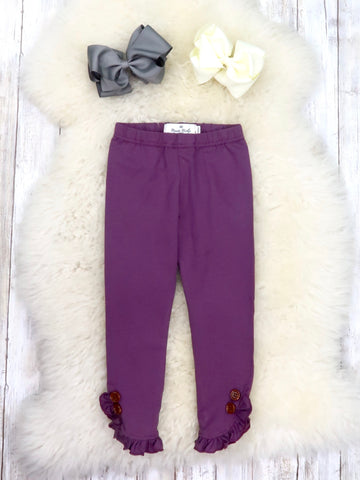 Cotton Small Ruffle Button Leggings - Ash Purple