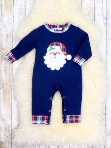 Navy Plaid Santa Romper