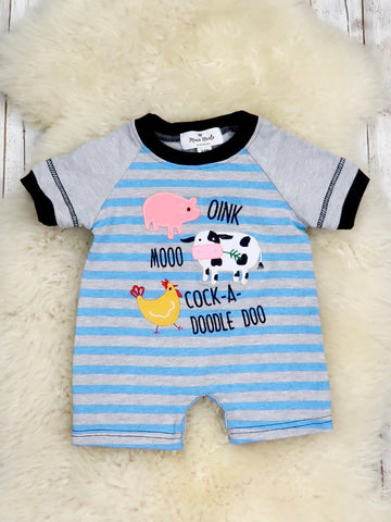 Farm Animals Striped Romper