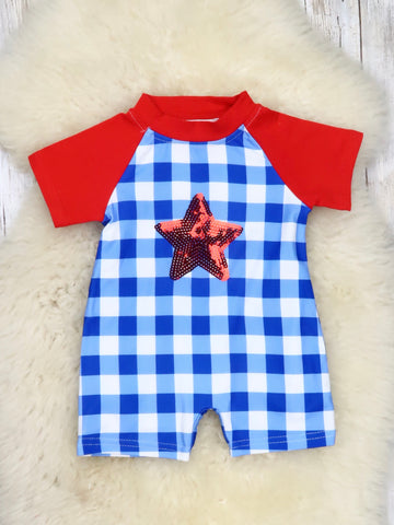 Patriotic Star Checked Romper