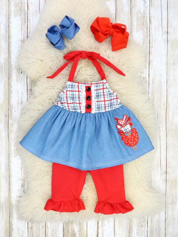 Red / Blue Plaid Chambray Chicken Halter Top & Red Bottom Outfit