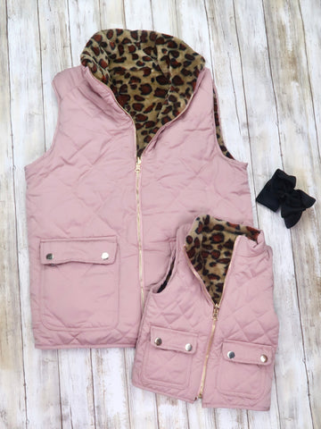Mom & Me Mauve and Leopard Reversible Vest