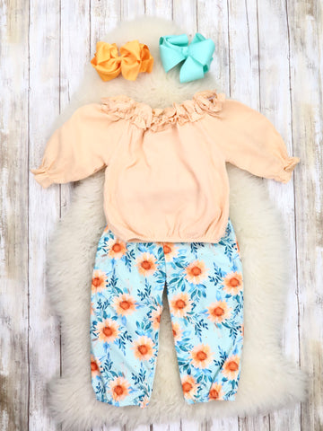 Peach Ruffle Top & Blue Sunflower Paper Bag Pants Outfit