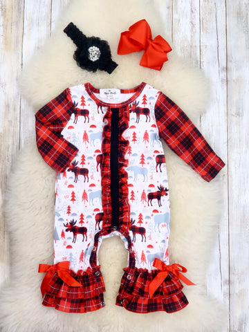 Red / White Plaid Moose Ruffle Romper