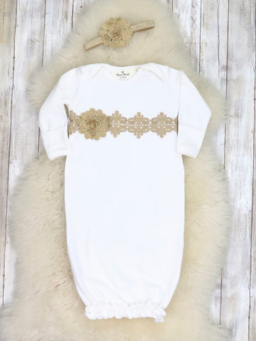Cotton Lace Baby Gown With Headband - White