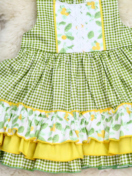 Cotton Ruffle Green Checked Spring Berry Dress