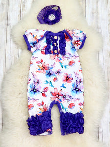Violet Watercolor Orchids Icing Romper- Short Sleeve