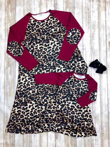 Mom & Me Burgundy & Leopard A Line Dress