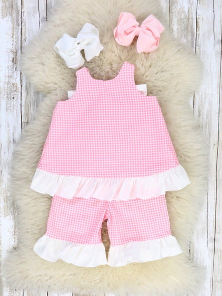 Pink Checked Bow Top with Capris Outfit