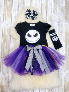 Black Skeleton Top, Tutu Skirt, Socks & Bow Outfit