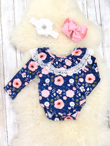 Navy / Pink Floral Ruffle Bubble Romper