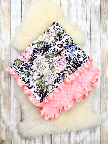 Pink / White Orchid Minky Blanket