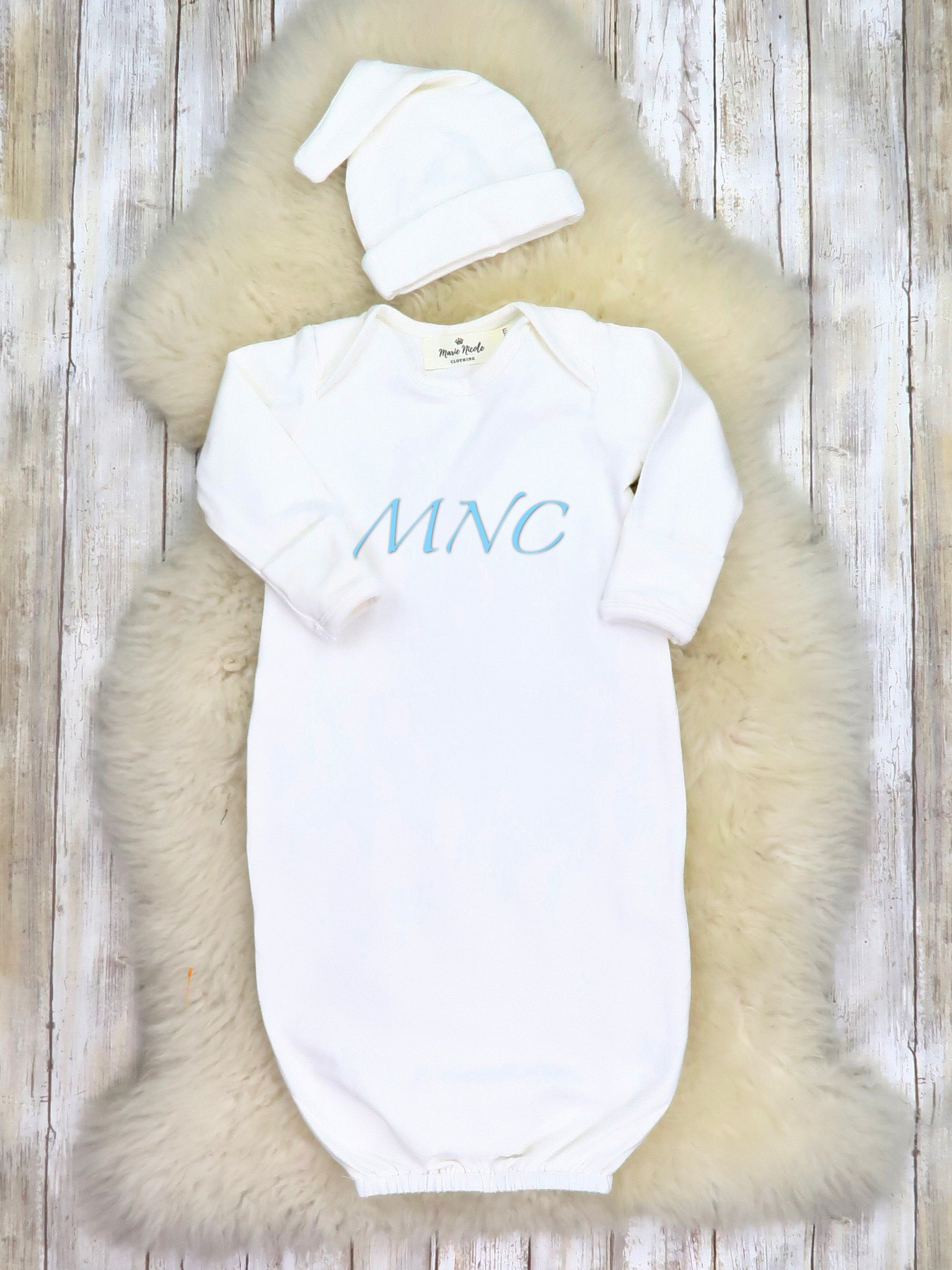 Cotton Baby Gown With Hat - White