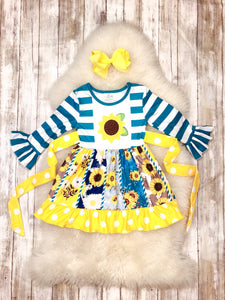 Blue & Yellow Sunflower Dress