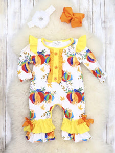 Yellow / White Rainbow Pumpkin Ruffle Romper