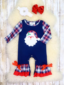 Navy Plaid Santa Ruffle Romper