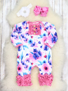 Pink Watercolor Anemone Icing Romper
