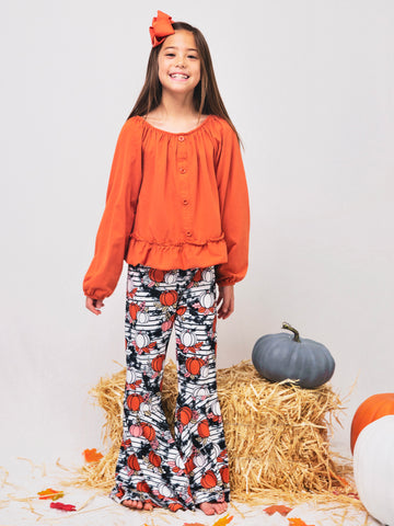 Pumpkin Spice Shirt & Smoky Bell Bottom Outfit