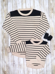 Mom & Me Black/Cream Striped Crewneck Sweater