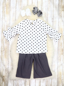 White Polka Dot Ruffle Top & Gray Bow Flare Pants Outfit