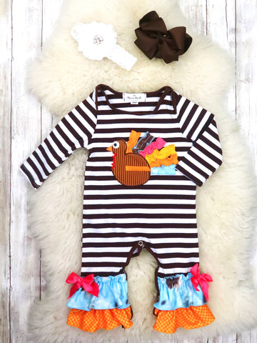 Brown / White Striped Turkey Ruffle Romper