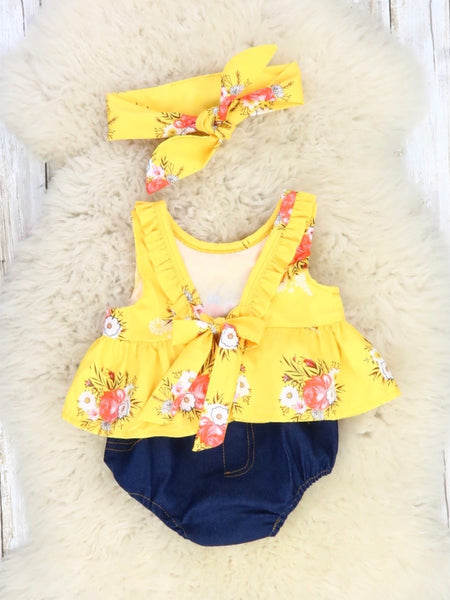 Yellow Floral Crop & Denim Bloomer Outfit with Matching Headband