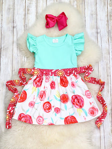 Mint & Red Painted Roses Dress