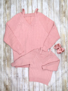 Mom & Me Cable Knit Sweater - Mauve Pink