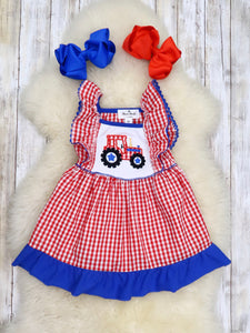 Patriotic Tractor Ruffle Sleeve Dress