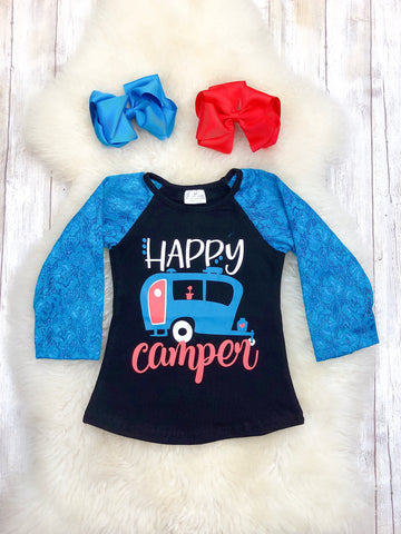 Happy Camper Blue Lace Sleeve Shirt