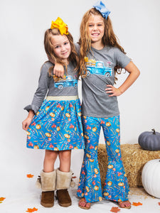 Truck & Blue Pumpkin Ruffle Dress