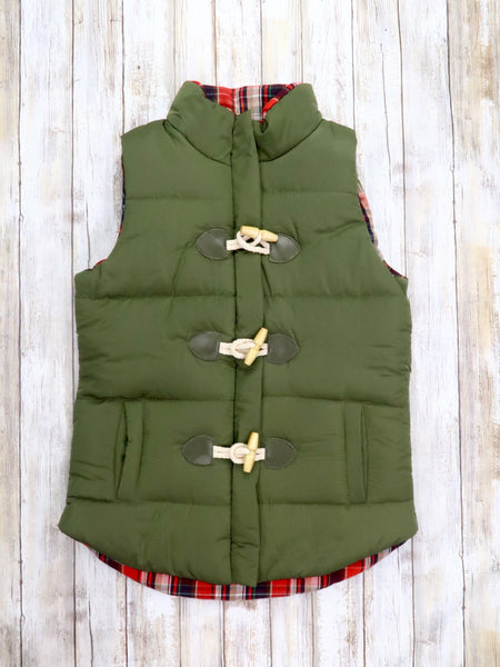 Mom & Me Plaid Button Vest - Olive