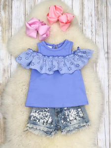 Cold Shoulder Ruffle Top - Cornflower Blue