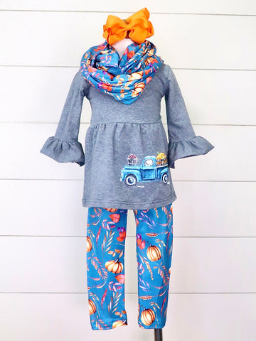 Gray Pumpkin Truck Ruffle Top Leggings & Scarf Outfit