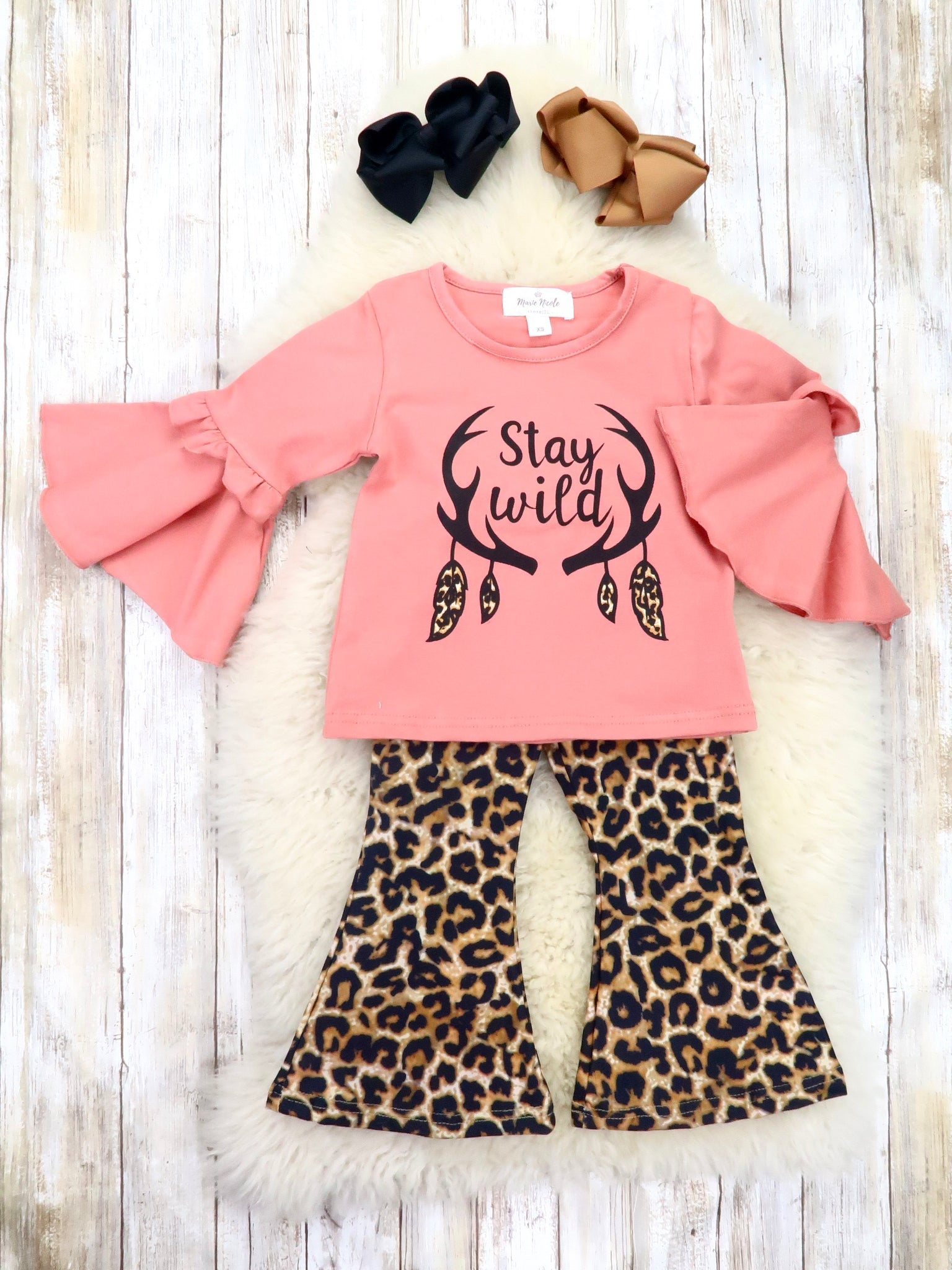 """Stay Wild"" Bell Sleeve Top & Leopard Flare Pants Outfit"