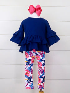 Navy Bell Sleeve Ruffle Top & Peony Polka Dots Leggings Outfit