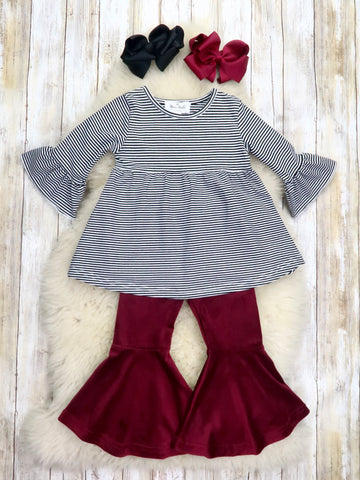 Black / White Pinstripe Top & Burgundy Velvet Bell Bottoms Outfit