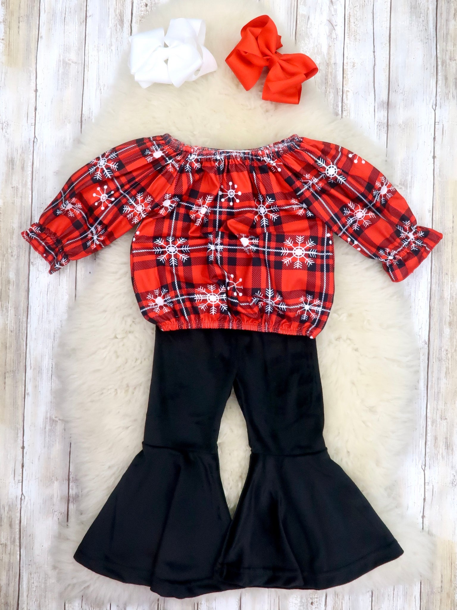 Red Plaid Snowflake Ruffle Top & Velvet Bell Bottoms Outfit