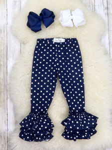 Cotton Tulip Ruffle Leggings - Navy Polka Dot