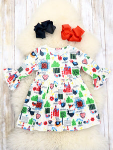 Barn & Chickens Ruffle Dress
