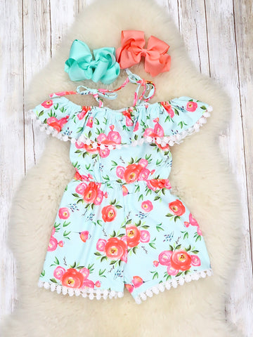 Mint & Coral Floral Off Shoulder Romper