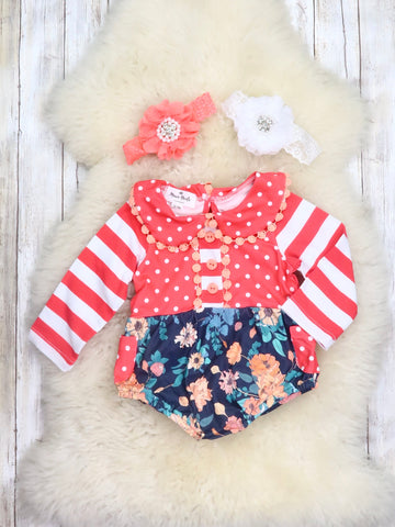 Coral Striped Polka Dot and Floral Ruffle Bubble Romper